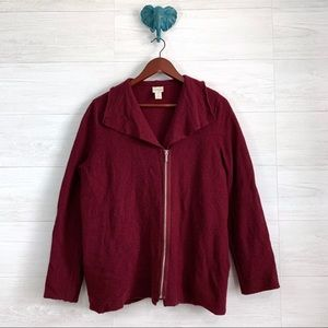 Chicos SZ 3 Brick Red 100% Boiled Wool Jacket